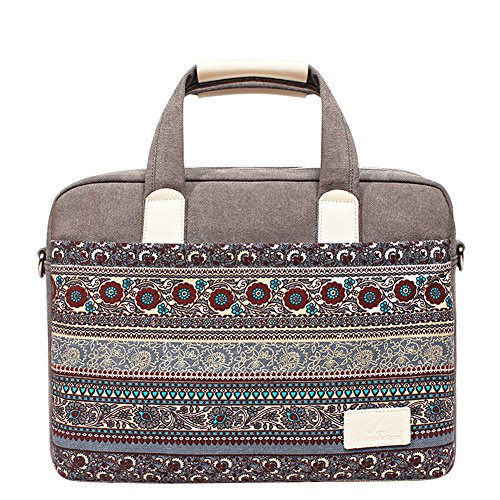 Feisman Bohème Stil Canvas Hülle Aktentasche Sleeve Tasche Laptoptasche für 15-15,6 Zoll Laptop/Notebook Computer/MacBook/MacBook Pro/MacBook Air -(Grau)