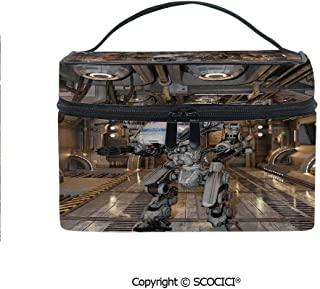 Printed Portable Travel Makeup Cosmetic Bag Battle Robot with in a Ship Technological Combat Futuristic Warfare Image Durable storage bag for Women Girls