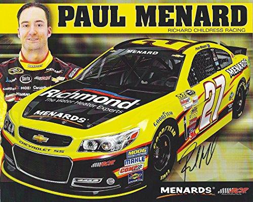 AUTOGRAPHED 2014 Paul Menard #27 Richmond Water Experts (Menards) Signed 8X10 NASCAR Hero Card Photo w/COA