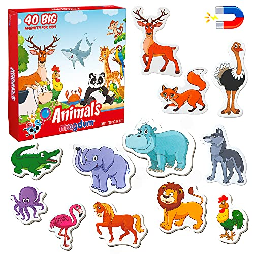 MAGDUM Imanes nevera niños Animales - 40 Grandes imanes bebes - Montessori bebe - Animales de juguete - Juguetes bebes - Juegos educativos niños - Nevera juguete - Iman de nevera - Animales granja