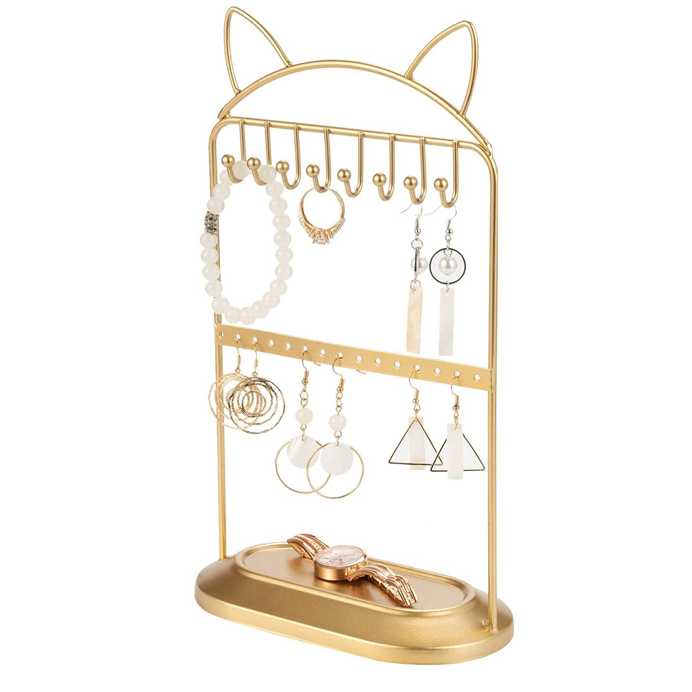 信者きらめくマリナーアクセサリースタンド フック付き ゴールド 猫耳 かわいい 2段 ジュエリースタンド ピアス収納 ネックレス収納 店舗ディスプレイ