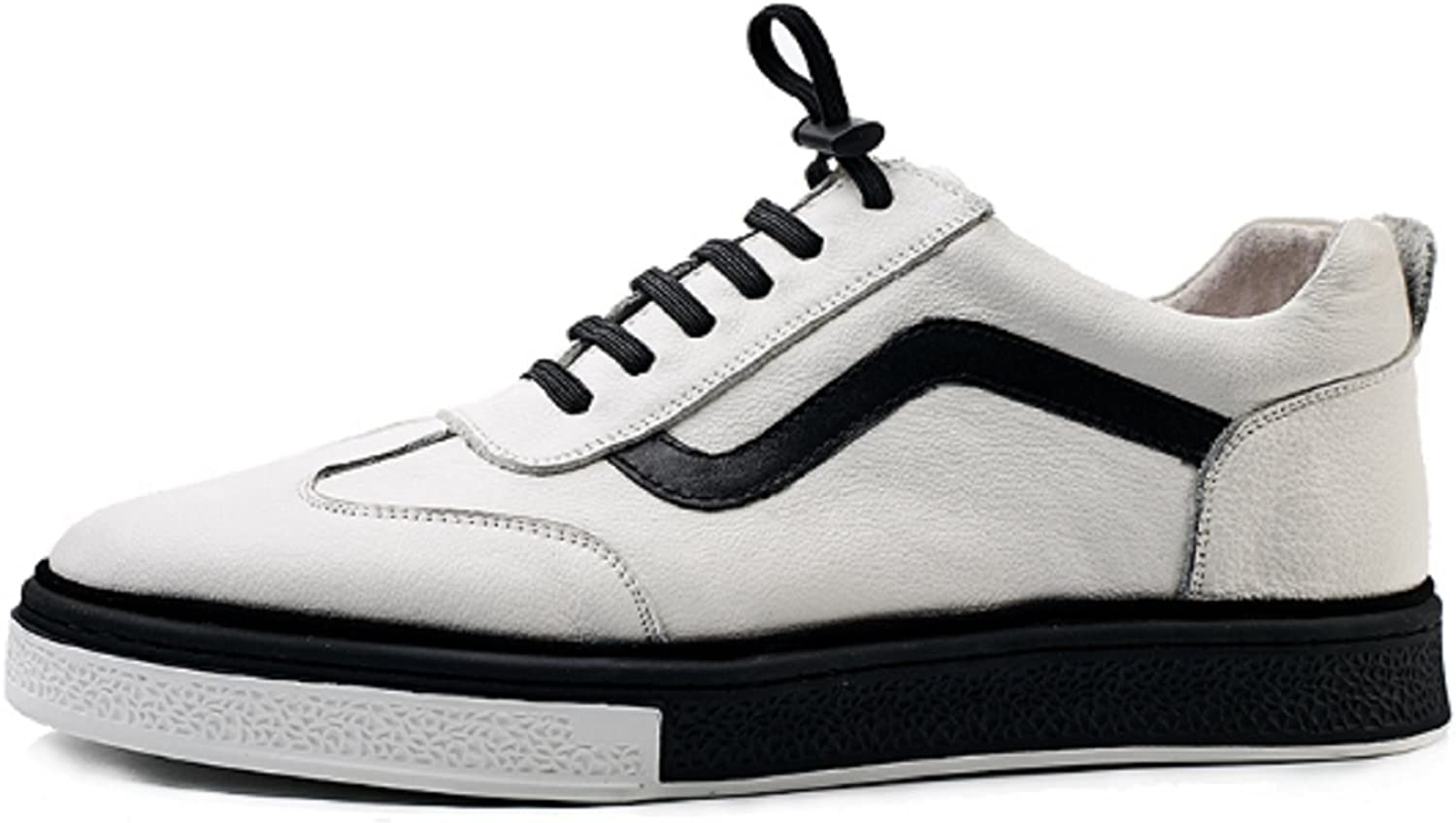 HAPPYSHOP Men's Real Leather Sports shoes Comfort Casual Sneakers White shoes Board shoes