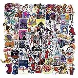 50 Piezas Pegatinas de Neon Genesis Evangelion, Vinilo Impermeable Paquete de Pegatinas de Dibujos Animados para Ordenador Portátil, Parachoques, Ponopatín, Botellas de Agua, Teléfono, Guitarra