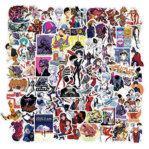 Neon Genesis Evangelion Anime Aufkleber, 100ück Vinyl wasserdichte Cartoon Aufkleber Pack für Laptop, Stoßstange, Skateboard, Wasserflaschen, Telefon, Gitarre, Erwachsene Kinder Teens für Aufkleber