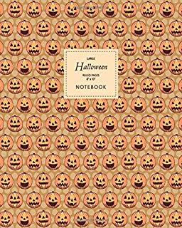 Halloween Notebook - Ruled Pages - 8x10 - Large: (Muddy Edition) Fun Halloween Jack o Lantern notebook 192 ruled/lined pag...