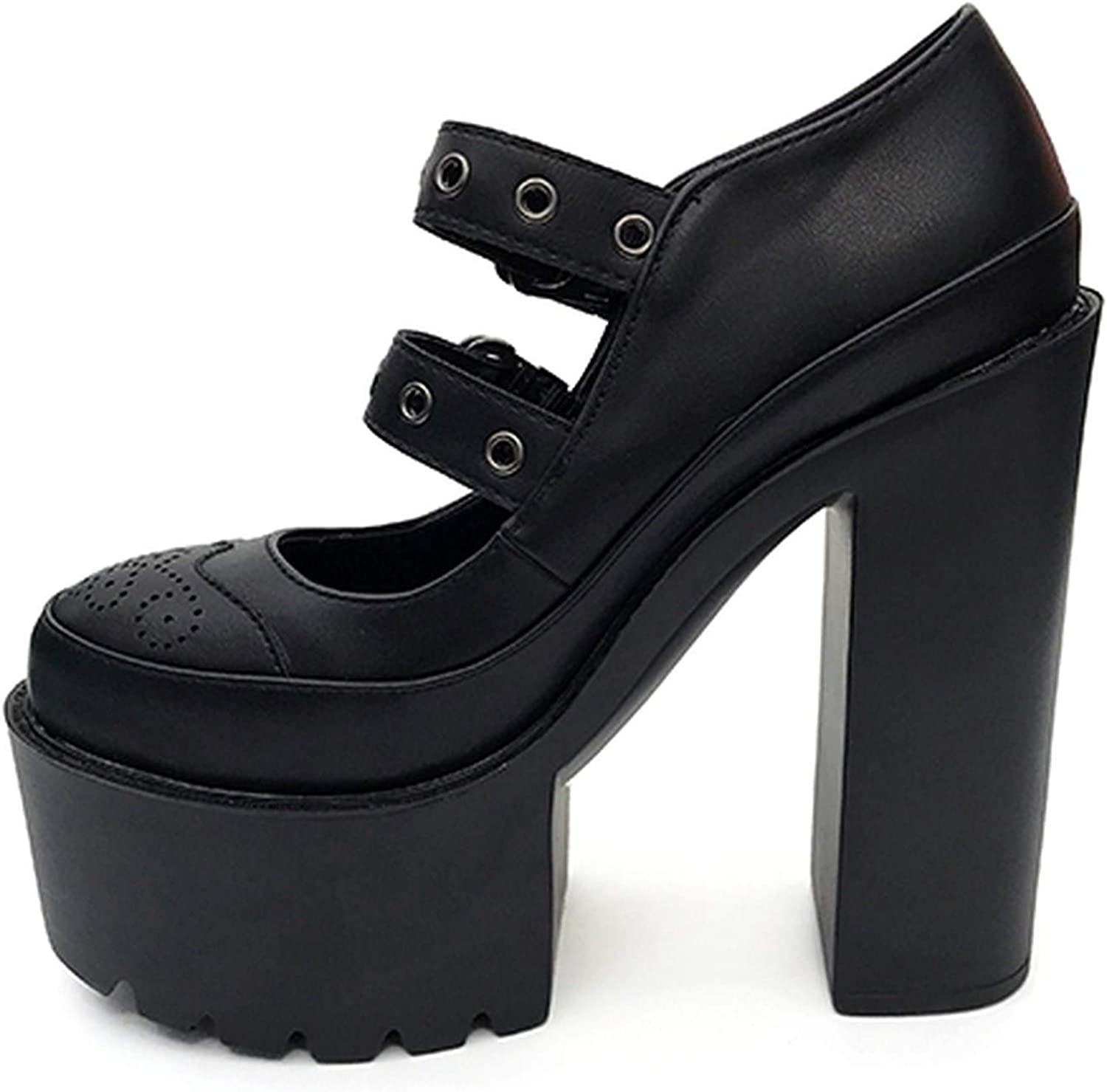 Summer-lavender Women Pumps High Heels Black Rubber Sole Platform shoes Round Toe Leather Mary Janes shoes