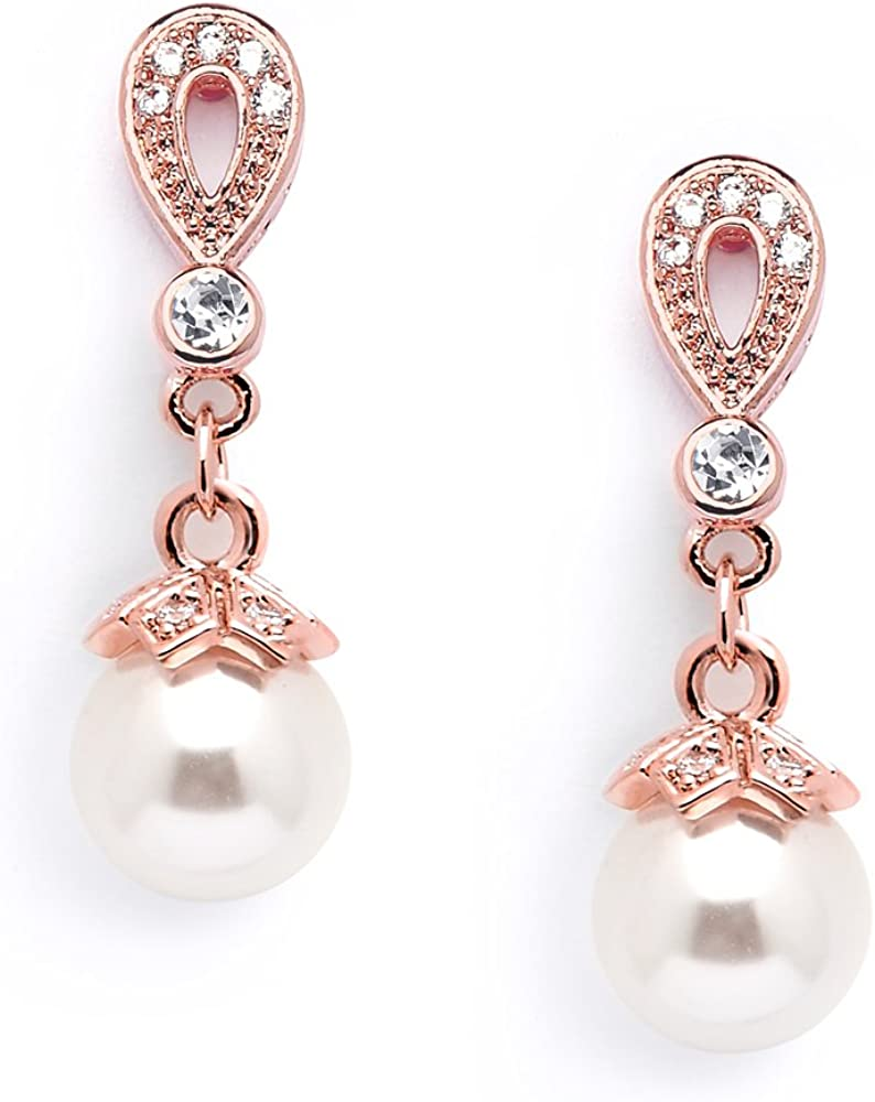 Mariell 14K Rose Gold Plated Vintage Wedding Glass Pearl Drop Clip On Earrings for Brides with CZ