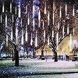 Fallende Lichter, EONANT 30cm 10 Tubes 360LEDs Solarfalllichter Meteorschauer Lichter Regen Tropfen Lichter für Bäume Parteien Hochzeit Garten Haus Dekoration (Cold White)