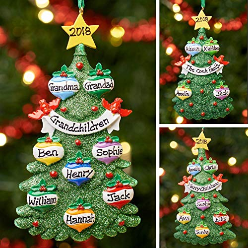 Personalised Family Christmas Xmas Tree Bauble Decoration Ornament | Green Tree Family | Groups 3,4,5,6,7 & 8
