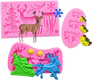 BAKER DEPOT Silicone Molds for resin Chocolate Fondant Mold Soap Molds DIY Baking Molds with Christmas Bell Symbols Santa Claus Snowflakes Elk Christmas Tree for Cake Decoration set of 3