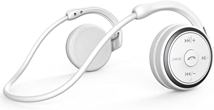 Small Bluetooth Headphones Wrap around Head - Sports Wireless Headset with Built in Microphone and Crystal-Clear Sound, Fold-able and Carried in the Purse, and 12-hour Battery Life, White