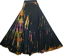 Agan Traders 61 SK Assorted Women's Flowing Bohemian Cotton Long Tie Dye Maxi Skirt