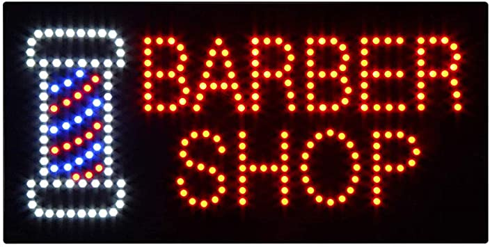 LED Hair Cut Open Sign Super Bright Electric Advertising Display Board for Barber Shop Hair Salon Message Business Shop Store Window Bedroom 24 x 12 inches