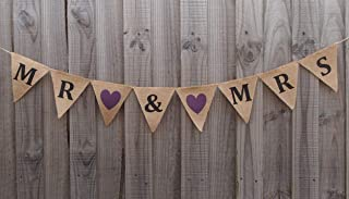 MR & MRS Burlap Bunting Banners Garland Vintage Rustic Signs for Bridal Shower, Wedding Party Decoration, Photo Booth Props Backdrop, Pre-Strung Flags