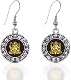 Inspired Silver - Silver Circle Charm French Hook Drop Earrings with Cubic Zirconia Jewelry