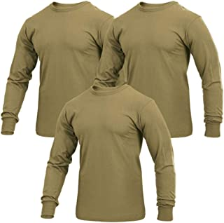 Military Style Long Sleeve Solid T-Shirt, AR 670-1 Coyote Brown, 3-Pack