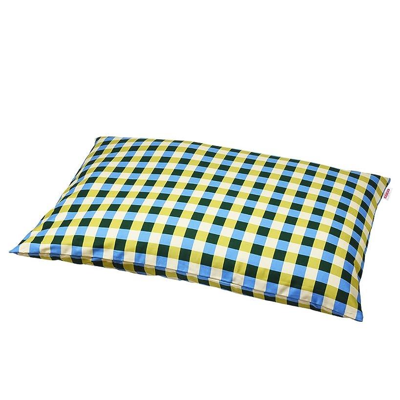 裏切りパットまっすぐ枕カバー 60×90cmの枕用 チェック綿100% ファスナー式 ぶつぬいロック仕上げ 日本製 枕 綿 ブルー