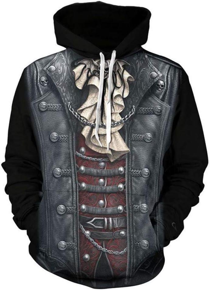 PU Printemps et Automne Sweatshirts Cool Sweatshirts 3D Pleine impression Hip Hop Skull Hooded Sweatshirts Hommes Sweats à Capuche 3D Pull Tops Streetwear Nouveau,** L L