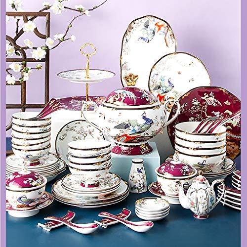 SHYPT 68 vajilla de Moda Porcelana China Platos de cerámica Plato Regalos de Boda vajilla clásica para el hogar Juegos de vajilla combinada