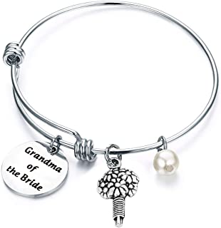 Grandma of The Bride,Grandma of The Groom Bracelet Stainless Steel Wire Bangle Wedding Bridal Party Gift