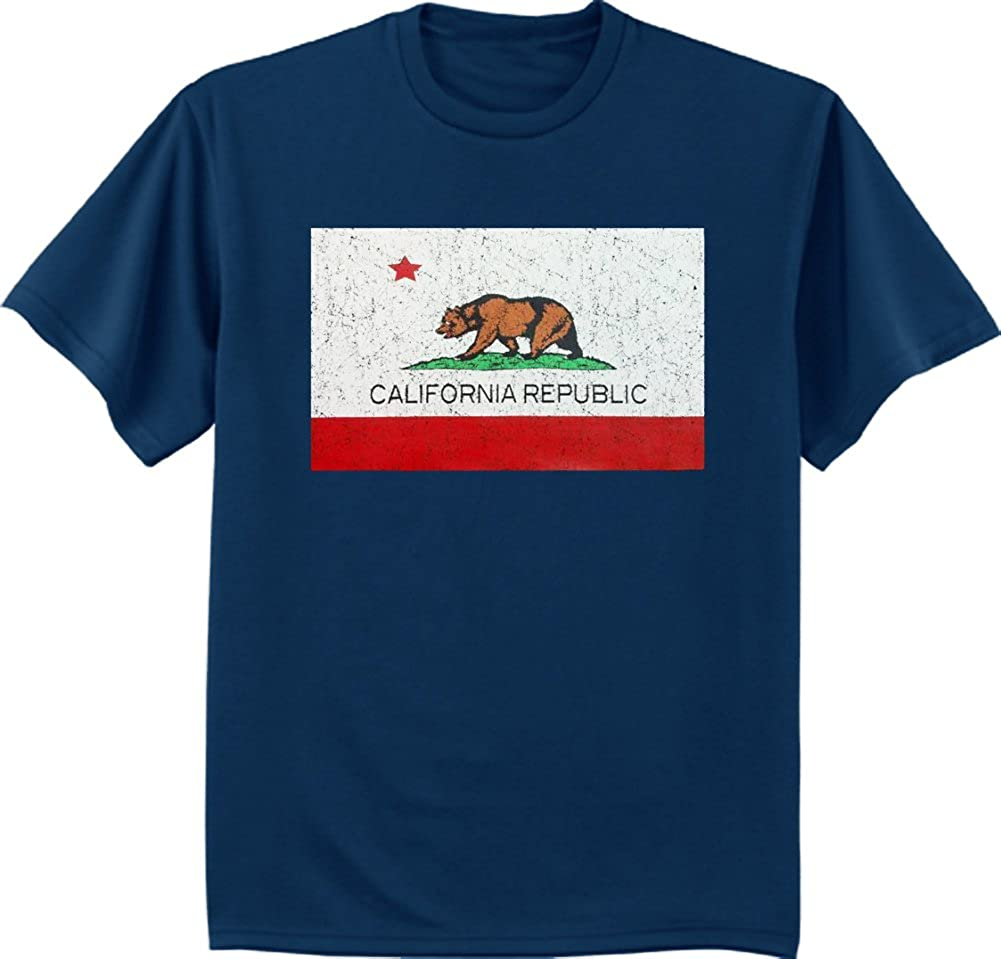 Decked Out Duds Big and Tall California Flag Decal Bear tee Shirt