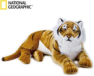 NATIONAL GEOGRAPHIC Giant Tiger Lelly Plush, Tan/White