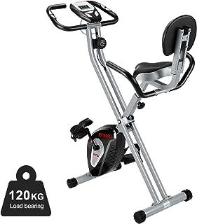 ENKEEO Bicicleta estática Plegable, Bicicleta estática Profesional, 120 kg de Carga con Respaldo y reposabrazos, 8 Niveles de Resistencia, Bicicleta magnética, Bicicleta Interior, Color Negro