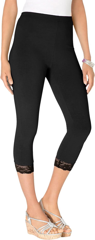 Roamans Women's Plus Size Lace-Trim Essential Stretch Capri Legging Activewear Workout Yoga Pants
