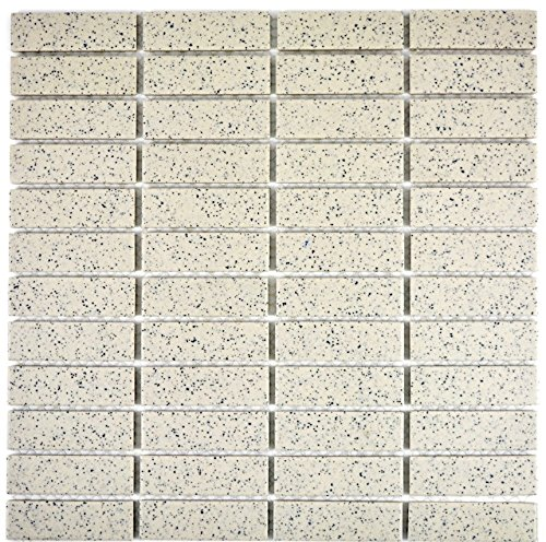 Piastrelle per mosaico, piastrelle in ceramica, piastrelle in ceramica, colore bianco crema, bastoncini smussati non smaltati