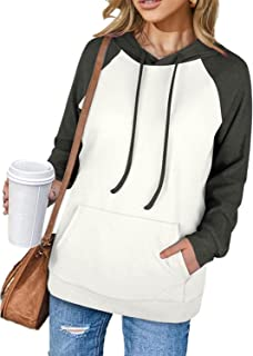 Sponsored Ad - Hoodies for Women Pullover Long Sleeve Color Block Shirts with Pockets