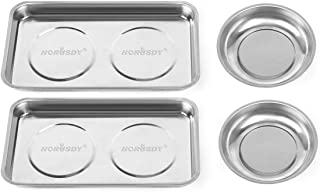 """HORUSDY 4-Piece Large Magnetic Parts Tray Set, Stainless Steel Heavy Duty 9.5""""W x 5.5''L Square..."""