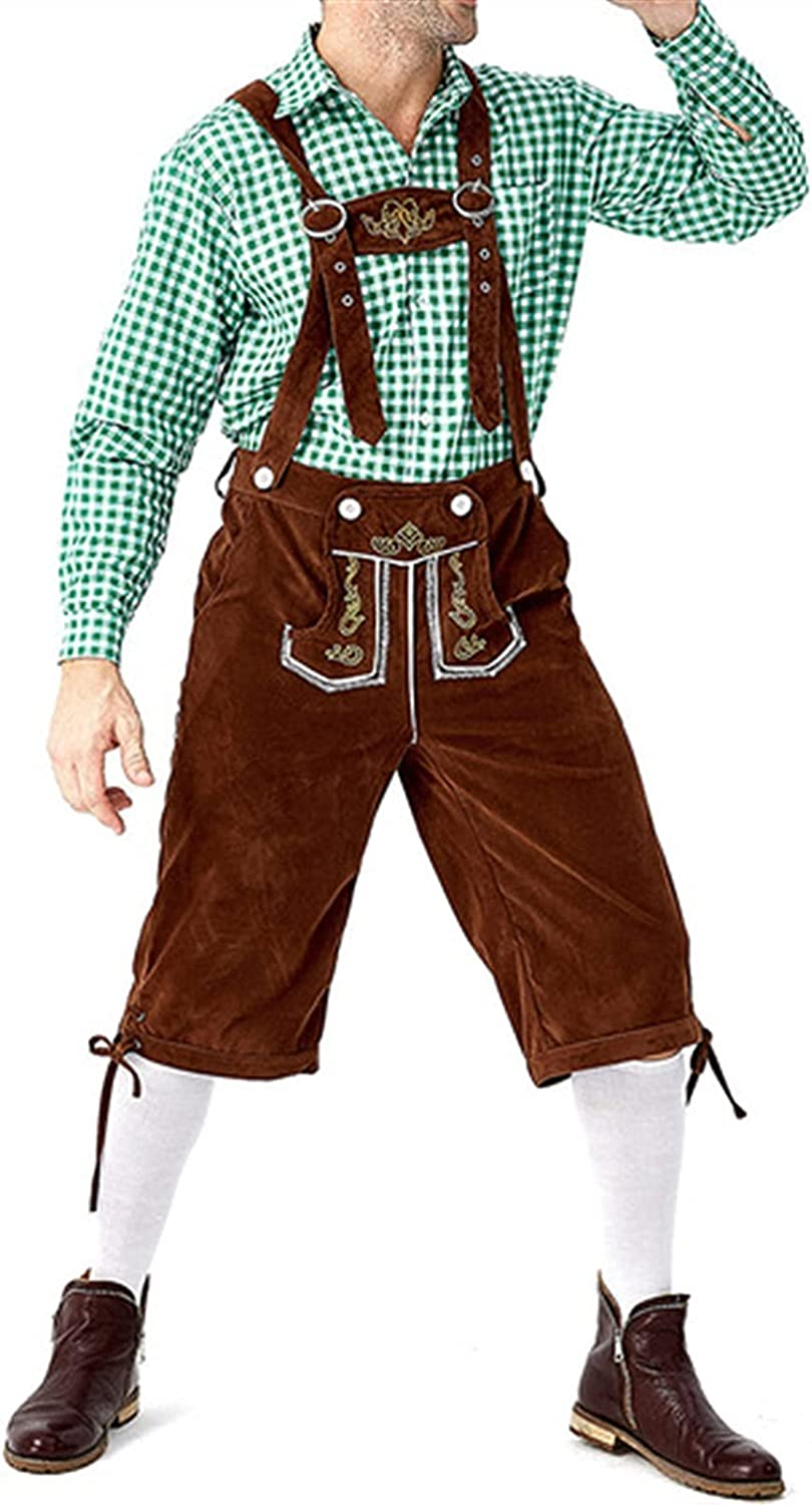 Traditional Men's Oktoberfest Clothing - Plaid Shirt Embroidered Suspenders and Cap Set