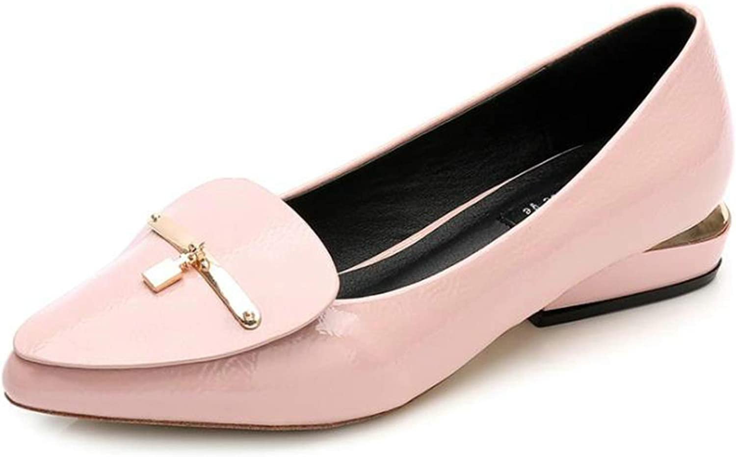 shoes Patent Leather Flat shoes Pointed Toe Woman Loafers Metal Buckle Decoration Casual Black Pink shoes shoes women