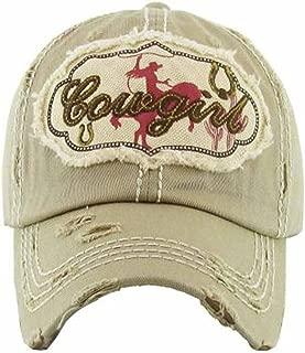 Kbethos Trading Women's Cowgirl Distressed Vintage Baseball Hat (Khaki)