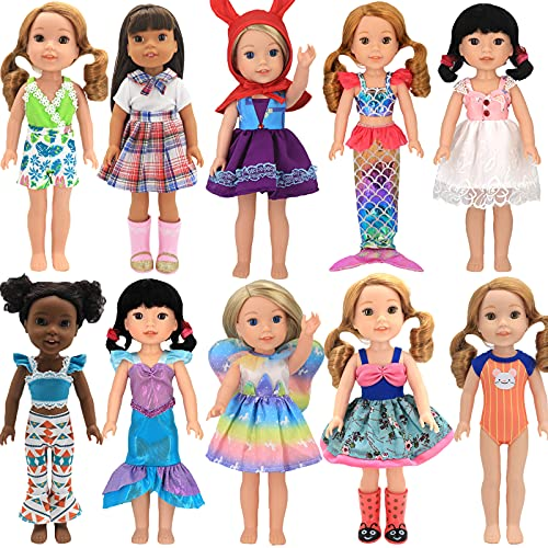 VITATAA13 pcs Girl Doll Clothes Outfits Gift for 14.5 inch American Girl Doll Wellie Wishers Dolls, Doll Clothing and Accessories, Including 10 Complete Sets of Clothing