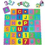 tectake Tapis de Jeu Puzzle Mousse Souple Alphabets & Chiffres env. 180 x 180 cm