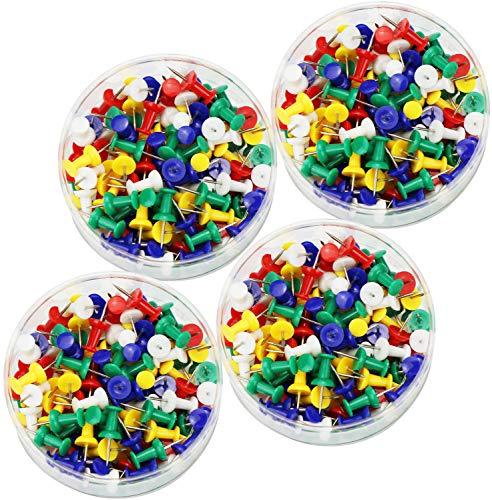 COM-FOUR® 500 gekleurde punaises, kopspijkers van messing met een kleurrijke plastic coating (02-500 stuks)
