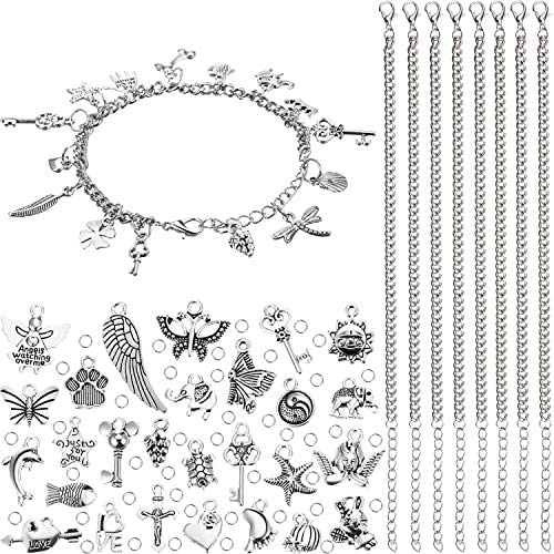 100 Pieces Jewelry Making Charm 12 Pieces Stainless Steel Chain and 200 Pieces Open Jump Ring product image