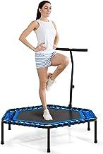 COSTWAY Gym workout fitness trampoline, cardio trainer oefening trampoline met verstelbare handgreep, veilige stil springe...