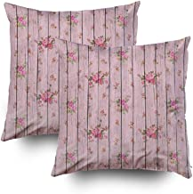 Shorping Decorative Throw Pillow Cover, Home Décor Throw Pillow Cushion Cover Digital Paper for Scrapbook Light Pink Wood and Flowers Texture Background