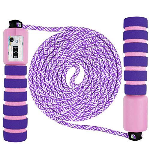 Vegena Springseil Speed Rope Mit Zähler Und Komfortablen & Anti-Rutsch Griffen für Workout, Crossfit, Boxen, Training Und Fitness Lila