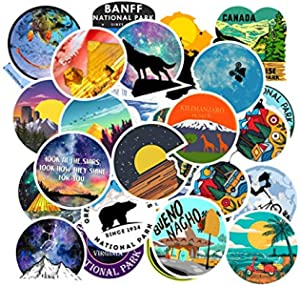 Pearshek 100 Pack Travel Landscape Sticker Skateboard Stickers Laptop Stickers Waterproof Cool Decals for Kids Girls Teens Adults on Water Bottle Luggage and Cellphone