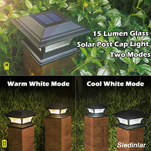 Siedinlar Solar Post Lights Outdoor Glass LED Fence Cap Light 2 Modes for 4x4 5x5 6x6 Posts Deck Patio Garden Decoration Warm White/Cool White Lighting Black (2 Pack)
