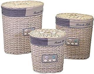 Vacchetti 1943000000 Lot de 3 paniers en osier, crème, moyenne, couleur crème