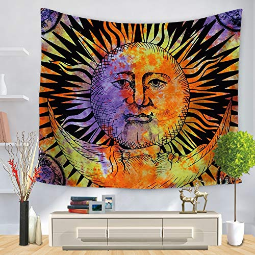 Tapiz geométrico colorido colgante de pared pared celestial hippie dormitorio decoración psicodélica tela de fondo A12 73x95cm