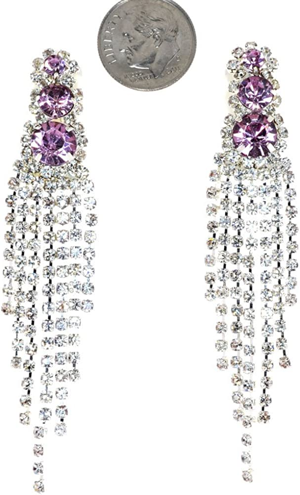 Glamour Seven Line Chandelier Dangle Duster Simulated Rhinestone-