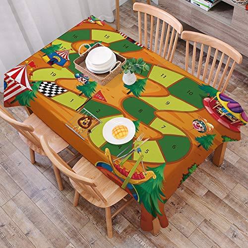 Tischdecke abwaschbar 140x200 cm,Brettspiel, Zirkus Themen Design Joker Zelte Luftballons Bäume Spielerisch Freudig Cartoon Feld, Me,Ölfeste Tischdecke, geeignet für die Dekoration von Küchen zu Hause
