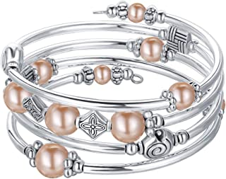 سوار لف من اللؤلؤ مطرز - سوار عصري بوهيمي مجوهرات متعدد الطبقات سحر مع خرز معدني فضي سميك، هدية للنساء والفتيات