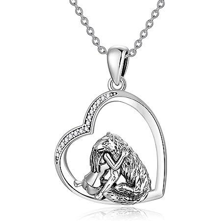 Wolf Necklace for Women TRISHULA 925 Sterling Silver Wolf Jewelry Heart Pendant Necklace for Women//Men//Boyfriend//Girlfriend Teens Gift