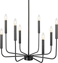 Derksic Black Chandelier 8-Light Farmhouse Chandelier Classic Wrought Iron Candle Chandelier for Dining Room Living Room K...